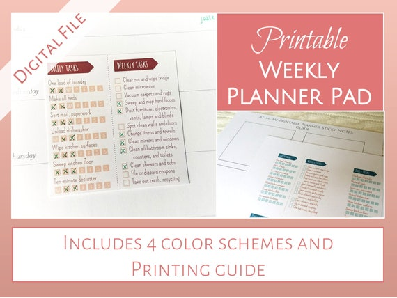 Printable sticky note weekly planner pads daily weekly etsy image 0 maxwellsz