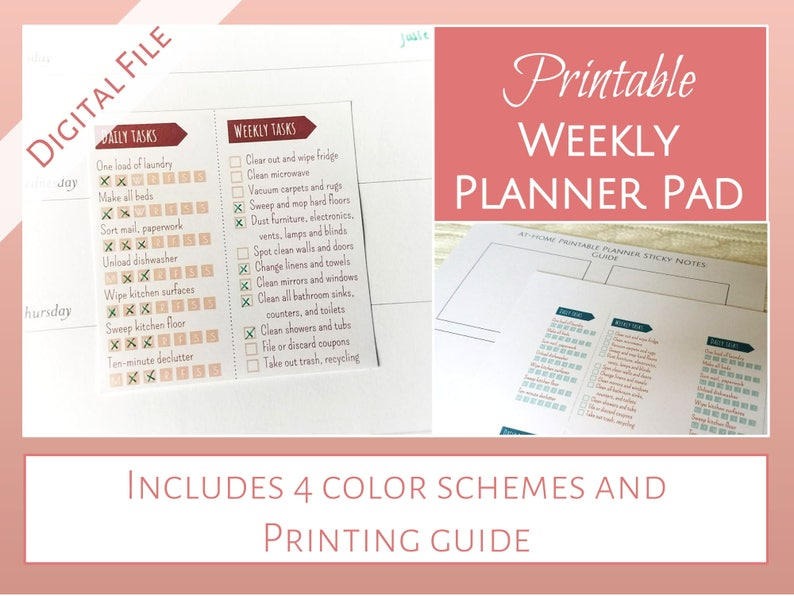 graphic regarding Printable Sticky Notes named PRINTABLE Sticky Take note Weekly Planner Pads: Day-to-day weekly chore checklists upon a sticky observe Contains 4 shade strategies + printing template