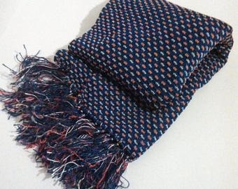 50s Men's knit scarf / Vintage Ascot / Scarf with fringe / Gift for him