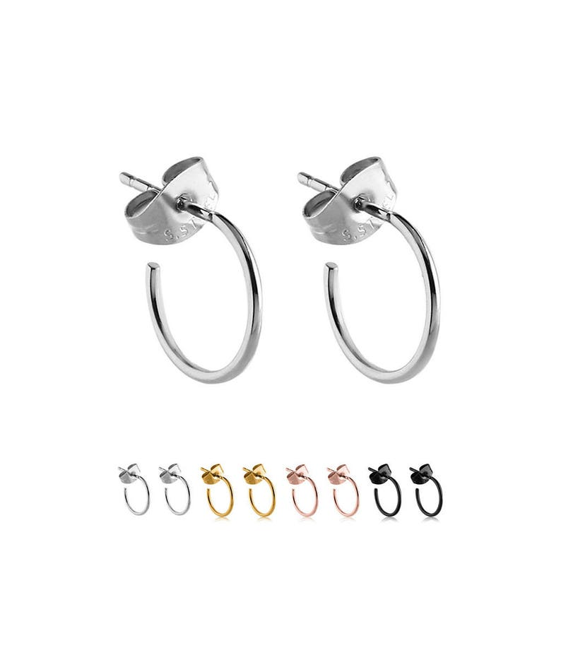 PVD Coated 316L Surgical Steel Hoop Earrings Choose Your Color