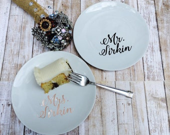 Wedding Cake Plate Personalized with Name, Custom Dessert Plates, Personalized Tasting Plates, Reception Dishes, Anniversary Gift