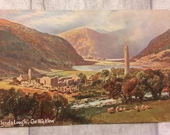 vintage postcard, vintage cards, vintage glendalough county wicklow postcard, glendalough postcard, county wicklow postcard,