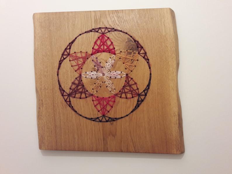 Sacred geometry  String art  Flower of life  Wooden Art  image 0