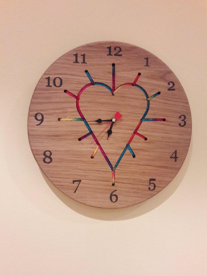 Wooden clock  String art  Wall clock  Unique wall art image 0