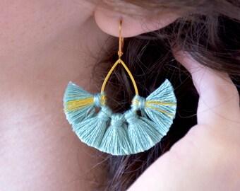 Tassel earrings, blue earrings, boho earrings, gold earrings, boho jewelry, fringe earrings, tassel hoop earrings everyday,Summer earrings