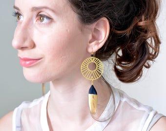 Geometric earrings, feather earrings, gold earrings, circle earrings, long earrings, hoop earrings, art deco earring, Dipped Feather earring