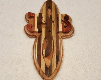 Custom Handcrafted Double Stacked Wooden Jesus Cross