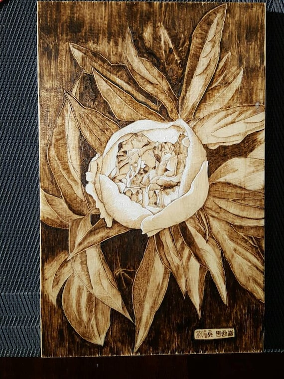 Pyrography Wood Burning Arts Peony Flower Etsy