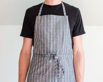 Classic Bib Apron- Dark Grey and White Pinstripe, cotton unisex apron