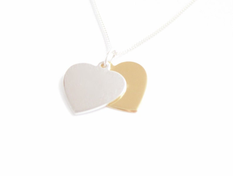 GIRLS 925 STERLING SILVER DOUBLE HEART NECKLACE PERSONALISED ENGRAVED GIFT BOX