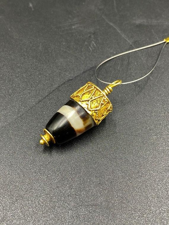 Ancient Original ancient chung Orange DZI White Stripe Powerful Amulet Bead Pendant
