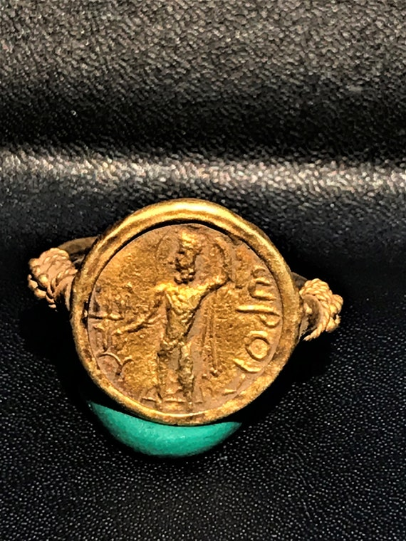Great Greek Art Signet Greek Gold Coin Ring
