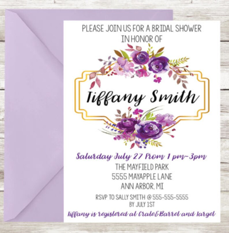 Floral Bridal Shower Invitations Printed with Envelopes