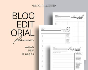 Blog Editorial Printable Planner  - Blog Planning Kit, Monthly and Weekly Editorial Calendar, Blog Post Planner, Series Planner