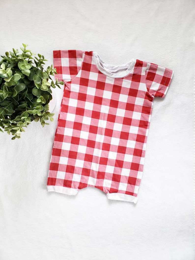 79c0f5eb3 6-9 month Red gingham romper shorts romper baby girl | Etsy