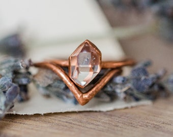 Herkimer Diamond and Chevron Wedding Ring Set | Raw Stone Engagement Ring Set | Alternative Engagement Rings | Diamond Bridal Wedding Ring