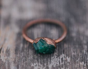 Raw Emerald Ring | May Birthstone Ring | Rough Emerald Ring | Gemstone Ring | Emerald Ring | Boho Ring |  Raw Crystal Ring | Raw Stone Ring