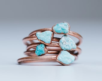 93a26a3d6 Turquoise Ring | Dainty Stacking Ring | Thin Stacking Ring | Delicate Gem  Ring | Minimalist Ring | Raw Stone Ring | Handmade Wedding Gift