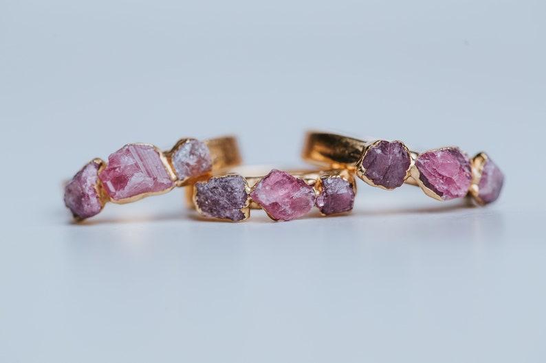 Raw Gemstone Ring Ruby and Tourmaline Gold Ring Raw Crystal Ring Pink Tourmaline Ring Ruby Ring Alternative Engagement Ring