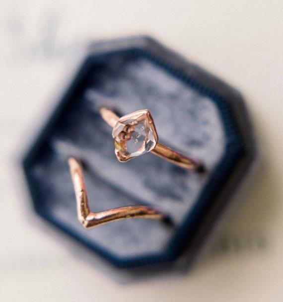 Raw Stone Engagement Ring Set Alternative Engagement Rings Etsy