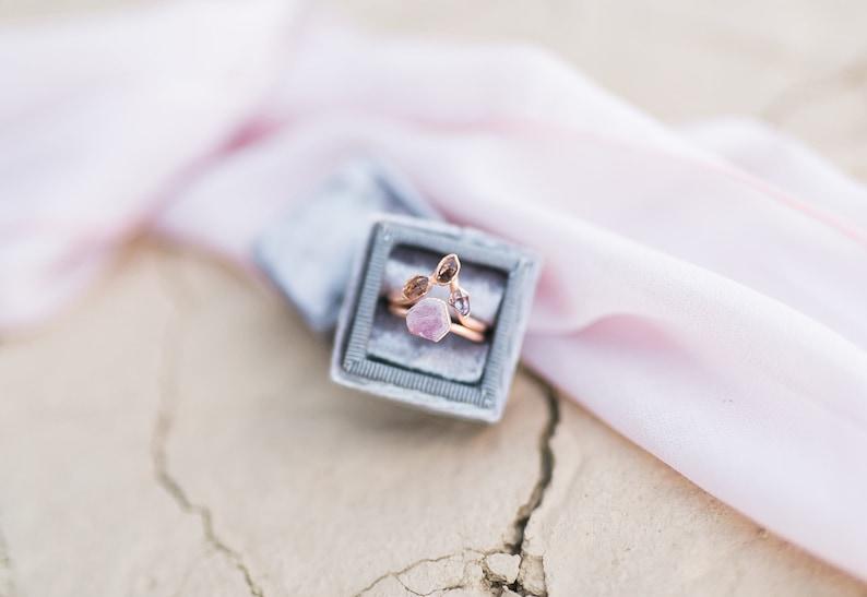 Alternative Engagement Ring Set  Raw Stone Engagement Ring  Rose Gold Plated