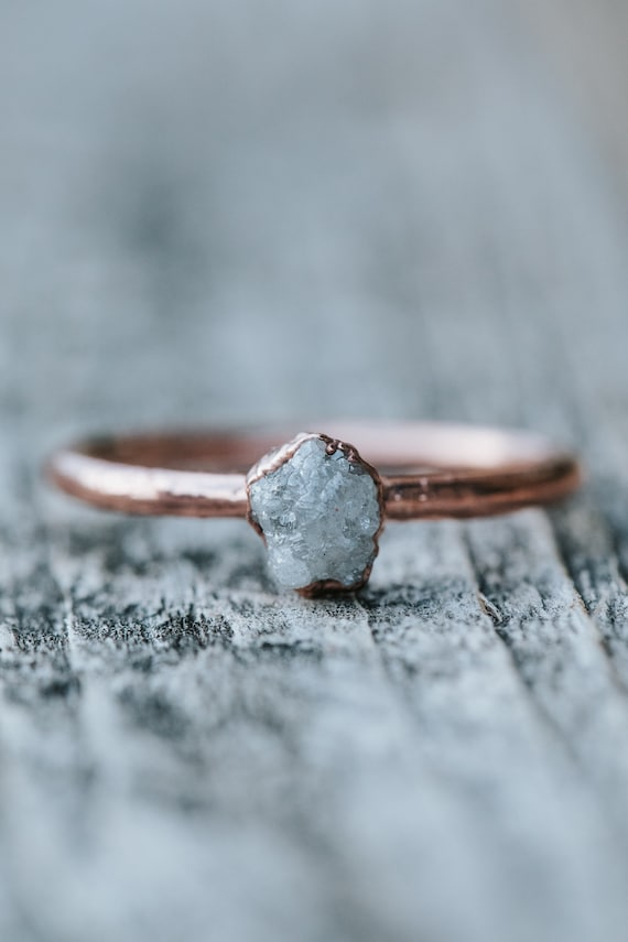 Personalized Natural Stone Ring Ethically Sourced Gemstones Custom Solitaire Copper Ring Choose Gemstone