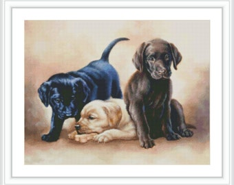 Dog Counted Cross Stitch Pattern - Large Cross Stitch Chart - Animal Cross Stitch - DMC Cross Stitch Design - Printable PDF Download