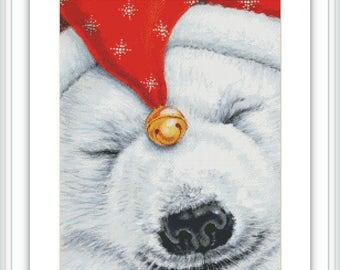 Polar Bear Cross Stitch Pattern - Large Cross Stitch Chart - Christmas Cross Stitch - Cute Cross Stitch Animal - Printable PDF Download