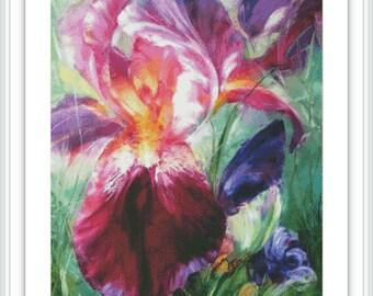 Iris Cross Stitch Pattern - Large Cross Stitch Chart - Flower Cross Stitch - Floral Cross Stitch Design - Printable PDF Instant Download