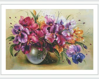 Flower Counted Cross Stitch Pattern - Large Cross Stitch Chart - Floral Cross Stitch - Cross Stitch Iris - Spring Flower Vase - PDF
