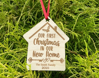 Our first Christmas in our new home ornament personalized