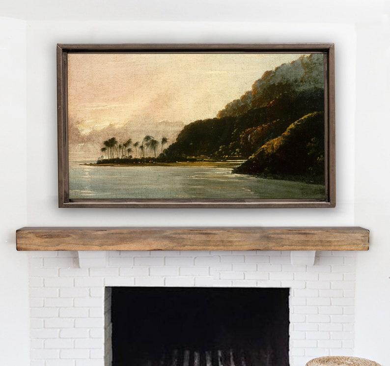 Vintage Landscape Painting for The Frame TV. Bay with Palms Samsung Frame TV Art
