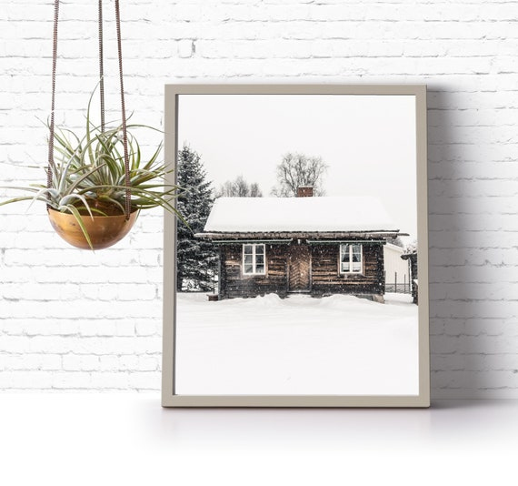 instant download printable art // photography // snowy cabin winter wonderland {DIGITAL PRINT}