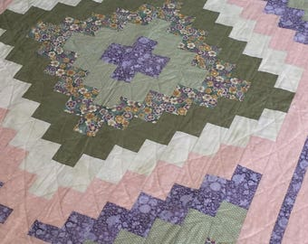 Baby Girl Crib Quilt - Pink, Green & Lavender