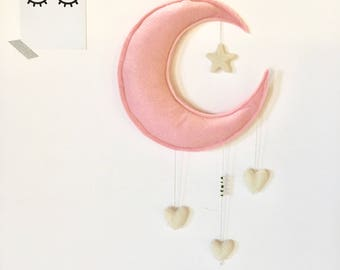 "Mobile ""moon and hearts"" (personalized name)"