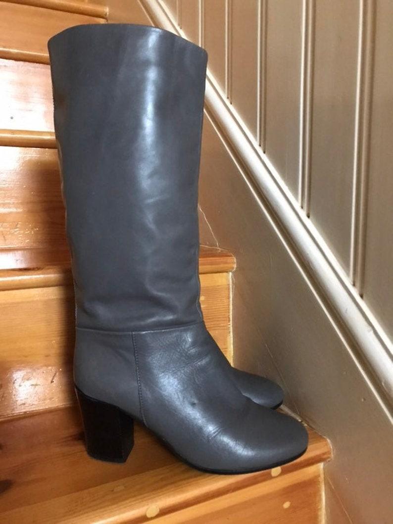 Vintage Retro High Knee Grey Genuine Leather boots booties Slip on Round toe Black Block heel water resistant