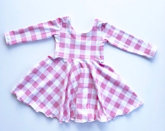 3812814444ee Salmon and White Buffalo Check Gingham Peplum Top or Dress with Circle Skirt  for Twirling Toddler Baby Girl Sleeveless Short Long