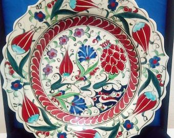 Handpainted Turkish Kutahya Porcelain Ceramic Plate