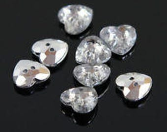 Free Shipping 100 X Clear Crystal Heart Acrylic Plastic12mm Button For Clothes Sewing Craft