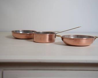 Small Copper Pans, Miniature Pans, Copper Sauce Pans, Vintage Sauce Pans, Saucepans, Vintage Saucepans, Vintage Copper Saucepans