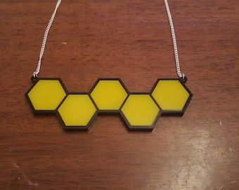 Honeycomb statement laser cut necklace