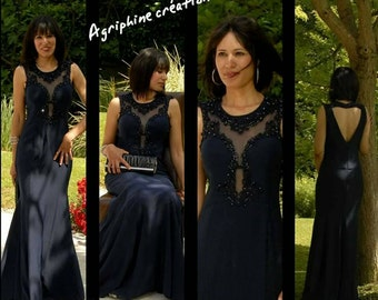 Midnight Blue evening dress size 38/40. Party dress in midnight blue size 8/10