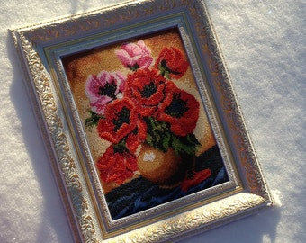Handmade Poppy flowers painting. Czech bead.Embroidered beaded