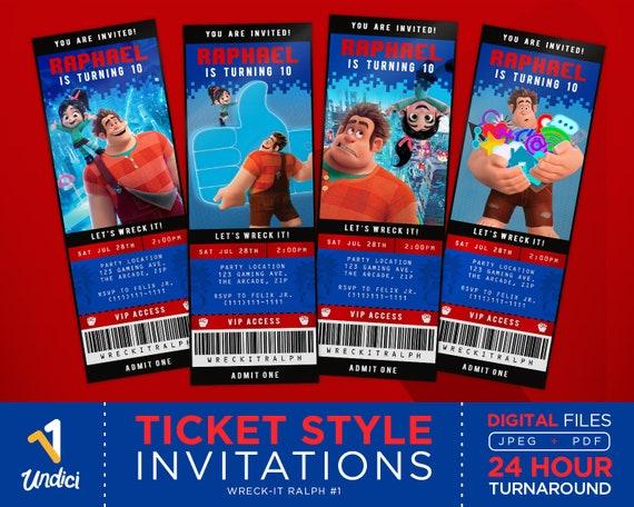 Wreck-It Ralph Invitation  Ralph Breaks The Internet Movie Ticket  Disney  Ticket Themed Invites  Video Game Birthday Party  Digital Download