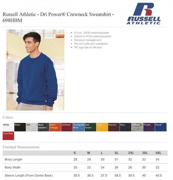 Russell Athletic Dri Power Blank Plain Crewneck Sweatshirt 698HBM up to 4XL