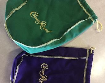 Lot of 10 medium Crown Royal felt bags purple with gold trim