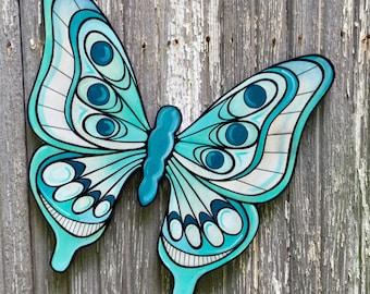 Wooden Blue Moth Garden Butterfly Decor