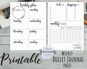 Printable weekly planner, printable weekly bullet journal, planner insert, bullet journal insert, dot grid planner, pre-made bullet journal