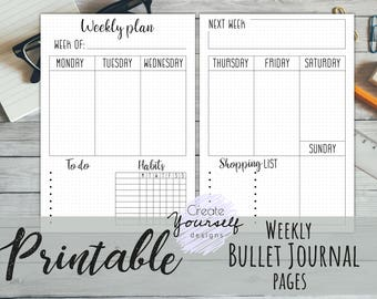 Printable weekly bullet journal, planner insert, bullet journal insert, dot grid planner, pre-made planner, bullet journal printable