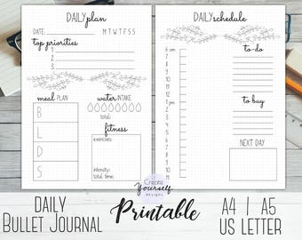 bullet journal printable daily planner bullet journal insert daily log dot grid journal printable planner a4 a5 letter size planner